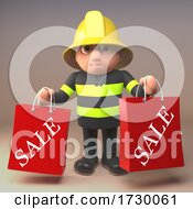3d Fire Fighter Fireman In High Visibility Clothing Holding Sale Shopping Bags