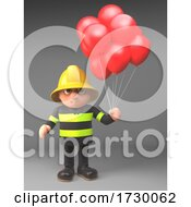 3d Fire Fighter Fireman In High Visibility Clothing Holding Some Party Red Balloons