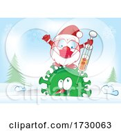 Santa Claus Character Fighting Virus With Vaccine