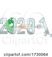 New Year From 2020 To 2021 Text With Covid 19 Cartoon And Vaccine