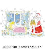 Reindeer Watching Through A Window As Santa Puts A Christmas Gift By A Sleeping Girls Bed by Alex Bannykh