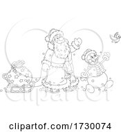 Santa Claus And Snowman Waving On Christmas