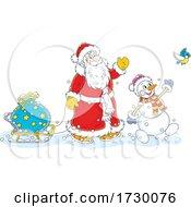 Santa And Snowman Waving On Christmas