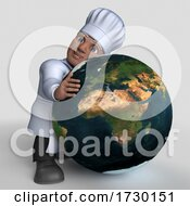 Poster, Art Print Of 3d Male Baker Or Chef On A Shaded Background