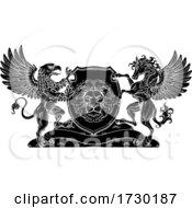Poster, Art Print Of Coat Of Arms Crest Griffin Pegasus Lion Shield