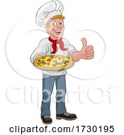 Chef Cook Man Cartoon Holding A Pizza
