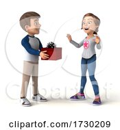 Poster, Art Print Of 3d Casual Young Man And Woman At Christmas On A White Background