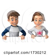 Poster, Art Print Of 3d Casual Young Man And Woman On A White Background