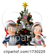 Poster, Art Print Of 3d Casual Young Man And Woman With A Christmas Tree On A White Background
