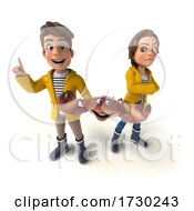 3d Crab And White Teen Couple In Rain Gear On A White Background