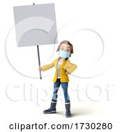 3d Casual Young Woman In Rain Gear And Mask On A White Background