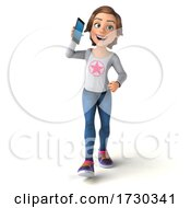 3d Casual Young Woman On A White Background