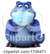 3d Tyrannosaurus Rex Dinosaur Wearing A Mask On A White Background by Julos