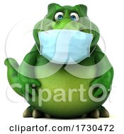 3d Tyrannosaurus Rex Dinosaur Wearing A Mask On A White Background