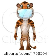 3d Tiger Wearing A Mask On A White Background