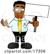 Black Businessman Mascot Cartoon Character Holding A Blank Sign