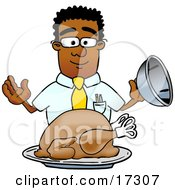 Clipart Picture Of A Black Businessman Mascot Cartoon Character Serving A Thanksgiving Turkey On A Platter