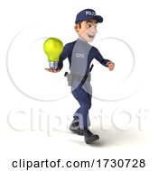 Poster, Art Print Of 3d Police Man On A White Background