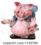 Poster, Art Print Of 3d Backpacker Pig On A White Background