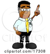 Clipart Picture Of A Black Businessman Mascot Cartoon Character Pointing Upwards