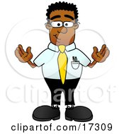Clipart Picture Of A Black Businessman Mascot Cartoon Character Standing With His Arms Out