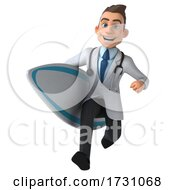 3d Young White Male Doctor On A White Background