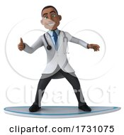 3d Young Black Male Doctor On A White Background