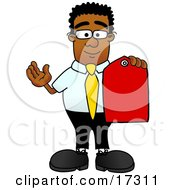 Black Businessman Mascot Cartoon Character Holding A Red Sales Price Tag