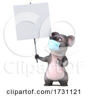 3d Koala Wearing A Mask On A White Background