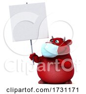3d Red Bull Wearing A Mask On A White Background