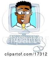 Black Businessman Mascot Cartoon Character Looking Out From Inside A Computer Screen
