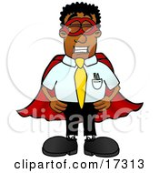 Clipart Picture Of A Black Businessman Mascot Cartoon Character Dressed As A Super Hero