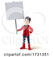 3d Asian Boy In Rain Gear On A White Background