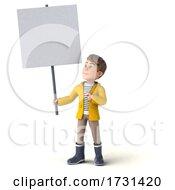 3d White Boy In Rain Gear On A White Background