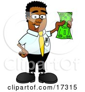 Black Businessman Mascot Cartoon Character Holding A Dollar Bill