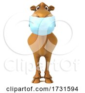 3d Camel Wearing A Mask On A White Background