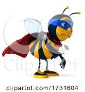 3d Super Bee On A White Background