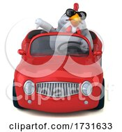 3d White Chicken Driving A Convertible On A White Background