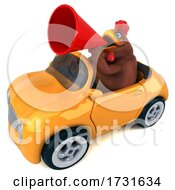 3d Brown Chicken Driving A Convertible On A White Background
