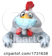 3d White Chicken Wearing a Mask, on a White Background by Julos #COLLC1731638-0108