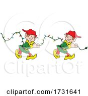 Elves Pulling A String Of Christmas Lights