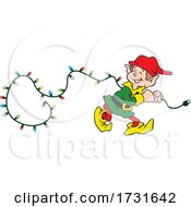 Elf Pulling A String Of Christmas Lights
