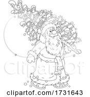 Santa Carrying A Fresh Cut Christmas Tree