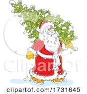 Santa Claus Carrying A Fresh Cut Christmas Tree