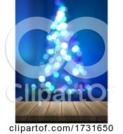 3D Wooden Table Looking Out To A Defocussed Christmas Tree