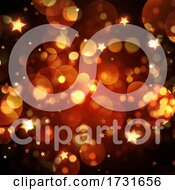 Christmas Background With Golden Bokeh Lights And Stars