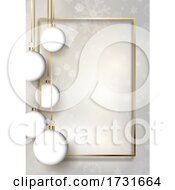 Christmas Baubles Background With Gold Frame