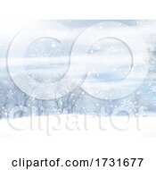Christmas Winter Landscape With Falling Snowflakes