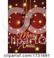 Sparkling Christmas Background With Gold Stars Design