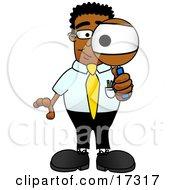 Black Businessman Mascot Cartoon Character Looking Through a Magnifying Glass